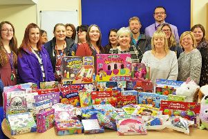 Chantry Primary Academy and Whitefield Primary School with the toys donated on the first day of the toy drive