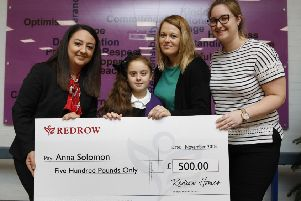 Redrow Eaton Green Archi-tots winner Izabela Solomon, with  Nalab Alaf Sales Adviser,, Holly French (Teacher) and Anna Solomon (mother)