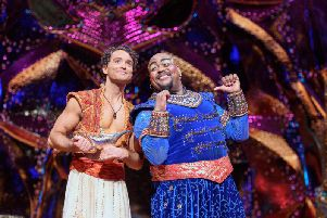 Matthew Croke as Aladdin and Trevor Dion Nicholas as Genie. Picture: Deen van Meer