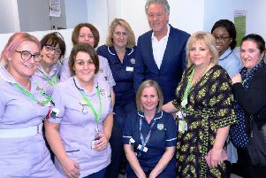 Paul Young with staff at the opening of the L&D's new Pre-Assessment Unit. Photo by Debra Rapp