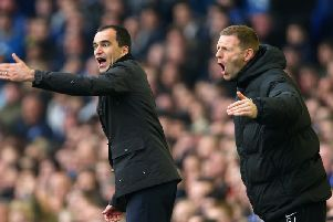 Graeme Jones, right, with Roberto Martinez