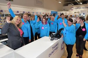 Cancer survivor Denise Coates with the Dunstable team at the shop opening. 'Photo by: Sean Dillow.'www.TheBigCheesePhotography.co.uk