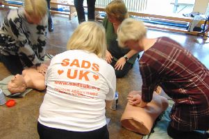 Defibrillator training at Sacred Heart Primary School