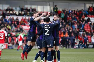 Luton celebrate Pelly-Ruddock Mpanzu's goal at Fleetwood