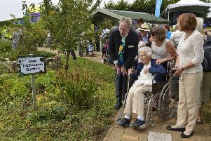 Iris White at the opening of Keech Hospice Care's new garden in 2015