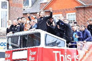 Glen Rea celebrates on the Hatters' open top bus parade