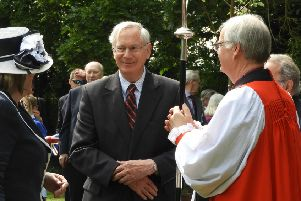 HRH, The Duke of Gloucester with Helen Nellis, Lord Lieutenant of Bedfordshire and Bishop Richard, Bishop of Bedford, at St Mary's, Eaton Bray, on May 15 2019. Credit: Eileen Bennett.