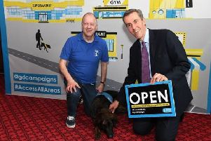 Andrew Selous MP at the event organised by the charity Guide Dogs