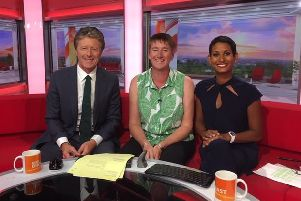 Diane (middle) discussed the school news on BBC Breakfast. Credit: BBC.