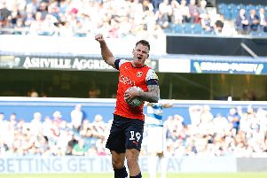 James Collins celebrates his goal against QPR on Saturday