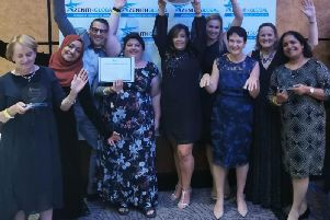 Liz Stevens, Tabs Mirza, Gary Meager, Deborah Olivant, Laura Cameron,'Kirstie Eastland, Jo McDonnel and friend Elizabeth Joshua-John from Luton and Dunstable Hospital who also received an award for Nursing & Midwifery.