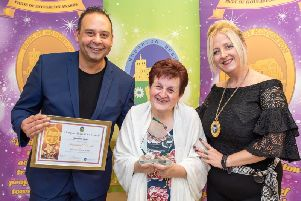 Josephine Jarvis  winner of the Individual Category, with Damian Edwards of Perfect Profiles (sponsors) and Deputy Mayor, cllr Tracey McMahon. Photo by Joanna Cross Photography.
