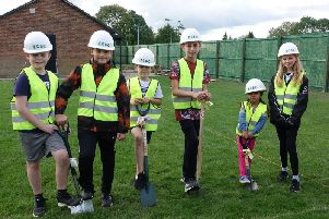 The Ground Digging Party are (L-R) Sebastian Freethy (9), Theo Tripos (10), Benjamin Freethy (9), Oliver Sunderland (13), Suria Ghuman (5), Millie Stansfield (12)