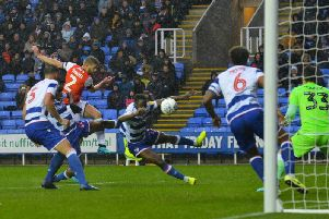 Martin Cranie has Luton's only shot on target at the Madejski Stadium on Saturday