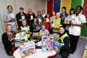 Officers from Bedfordshire Police delivered presents to children who will spend the festive season in hospital