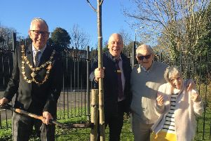 Dunstable Mayor joined residents at Caddington Grove care home to plant trees and mark 125 years of the National Trust
