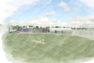 A water colour of what the sports village might look like, showing the main cricket ground with the football stadium and sports hall in the background.