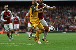 Bruno battles for the ball during Albion's defeat at Arsenal. Picture by Phil Westlake (PW Sporting Photography)