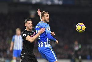 Glenn Murray battles for the ball in Brighton & Hove Albion's derby clash with Crystal Palace. Picture by PW Sporting Pics
