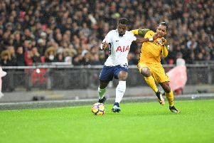 Tottenham Hotspur full-back Serge Aurier gets goalside of Jose Izquerido before putting in the cross that gave the home side the lead at Wembley. Picture by PW Sporting Pics