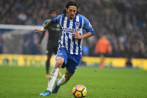 Ezequiel Schelotto had two penalty appeals waved away in the first half against Chelsea this afternoon. Picture by Phil Westlake (PW Sporting Photography)