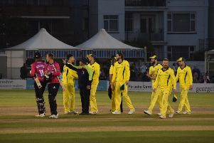 The players troop off after Australia bowl out Sussex for 220 / Picture by Phil Hewitt