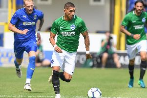 Anthony Knockaert in action at AFC Wimbledon on Saturday. Picture by Phil Westlake (PW Sporting Photography)