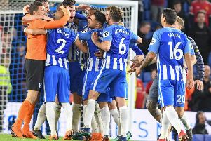 Albion celebrate the win over Manchester United last season which secured Premier League survival. Picture by Phil Westlake (PW Sporting Photography)