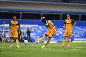 Yves Bissouma fires home the late free kick. Picture by PW Sporting Photography