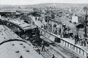 The scene of the crash at Eastbourne Railway Station in 1958 SUS-180208-170959001