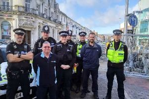 Some of the personnel involved in the Eastbourne Business Crime Group's day of action