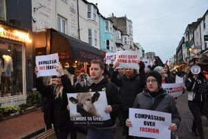 Protesters took to Brighton's lanes in a march against shops selling leather and fur