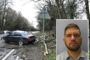 The crash scene and, inset, Shane Taylor. Image supplied by Sussex Police