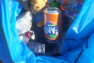 Litter items included drink cans, bottle tops, nylon rope and numerous small pieces of plastic SUS-181030-130837003
