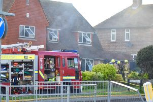 Eight fire engines attended a house fire in Hawth Way, Seaford, last night. Picture: Dan Jessup