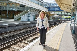Maria Caulfield MP at Lewes Railway Station