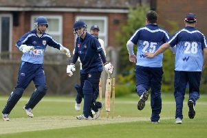 Eastbourne CC V Brighton & Hove CC - another wicket falls (Photo by Jon Rigby) SUS-190513-114600008
