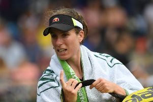 EASTBOURNE, ENGLAND - JUNE 26: Johanna Konta of Great Britain leaves the court her defeat to Ons Jabeur of Tunisia during day 3 of the Nature Valley International at Devonshire Park on June 26, 2019 in Eastbourne, United Kingdom. (Photo by Mike Hewitt/Getty Images) SUS-190626-142043002