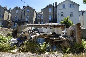 Flytipping on land between St Annes Road and Hartfield Road in Eastbourne (Photo by Jon Rigby)