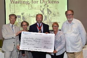 Dickens Fellowship 100th anniversary and cheque presentation. L-R,John Bowen, Cindy Sughrue, Ian Dickens, Maggie de Vos and Tony Williams (Photo by Jon Rigby) SUS-190729-100508008