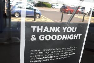 A sign in the window of the old Cineworld at Eastbourne Sovereign Harbour, saying 'thank you and goodnight' SUS-190725-161659001