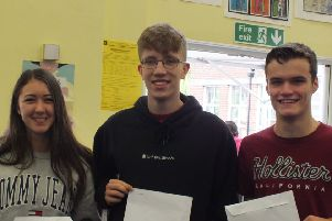 Hailsham Community College Sixth Form students celebrating their A-level results
