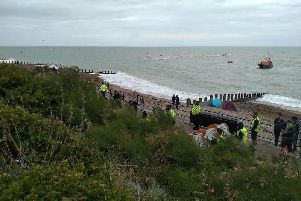 The scene in Eastbourne earlier today