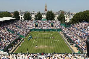 EASTBOURNE, ENGLAND - JUNE 29:    Womens Singles Final between Angelique Kerber and Karolina Pliskova during day 6 of the Nature Valley International at Devonshire Park on June 29, 2019 in Eastbourne, United Kingdom. (Photo by Paul Harding/Getty Images for LTA) SUS-190923-145201001
