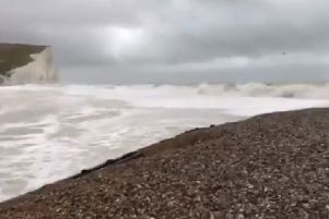 Still from video at Cuckmere Haven. Credit: Environment Agency