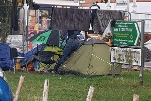 A tent set up by a homeless person in Hyde Gardens, Eastbourne
