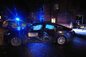 The taxi was badly damaged