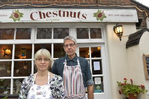 Alfriston High Street - Mary and Malcolm Chapman at Chestnuts (Photo by Jon Rigby) SUS-191017-104449008