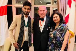 RSSG president, Laurie Holland (centre) with Seaford mayor, Cllr Nazi Adil (right), and her consort for the evening, Arsalan Awan (left), courtesy of Cllr Nazi Adil