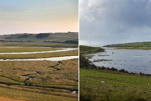 Cuckmere Haven before and after flooding. Both pictures by Jon Rigby.